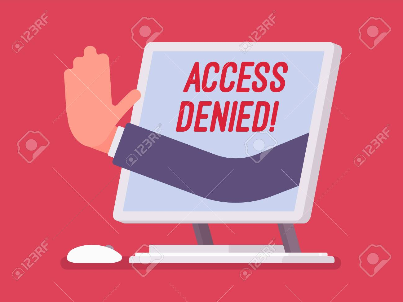 Access denied sign on monoblock screen. Hand from device showing user does not have permission to file, system refuses password and entry to computer data, error with red signal. Vector illustration - 122039921