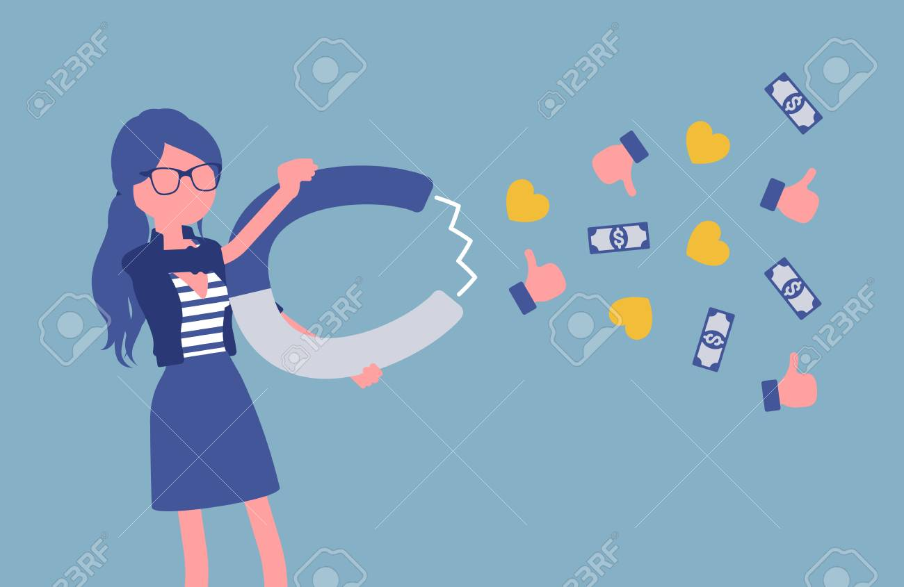 Popular female blogger attracting audience as magnet. Girl writes material for blog, marketing, social media texts powerful attraction, earns money, success. Vector illustration, faceless character - 122040031