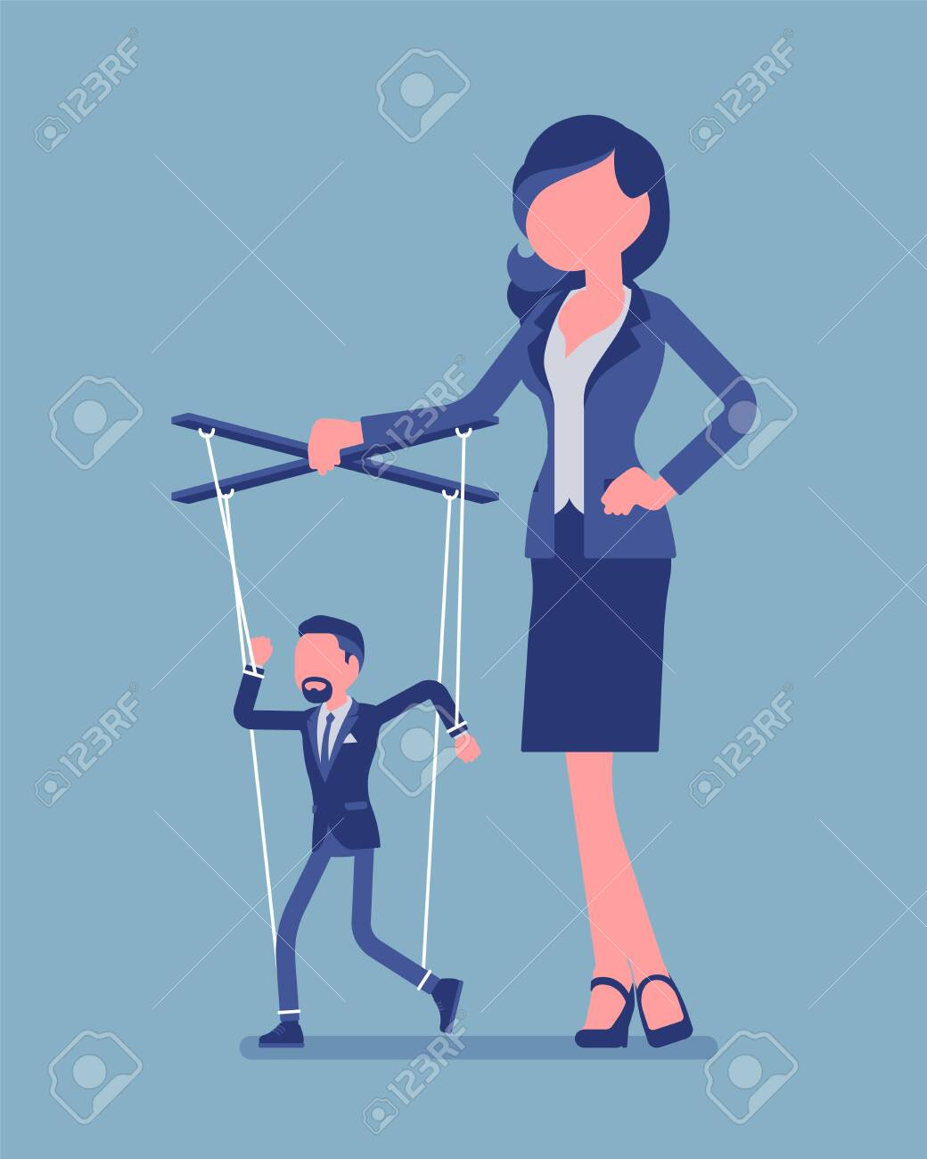 Marionette businessman manipulated and controlled by female puppeteer