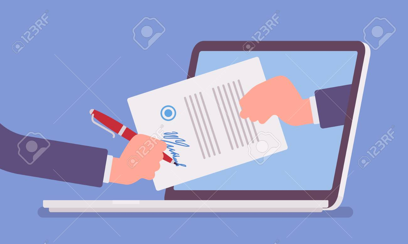 Electronic signature on laptop. Business Esignature technology, digital form attached to electronically transmitted document, verification of intent to sign agreement, legal deal. Vector illustration - 122503952