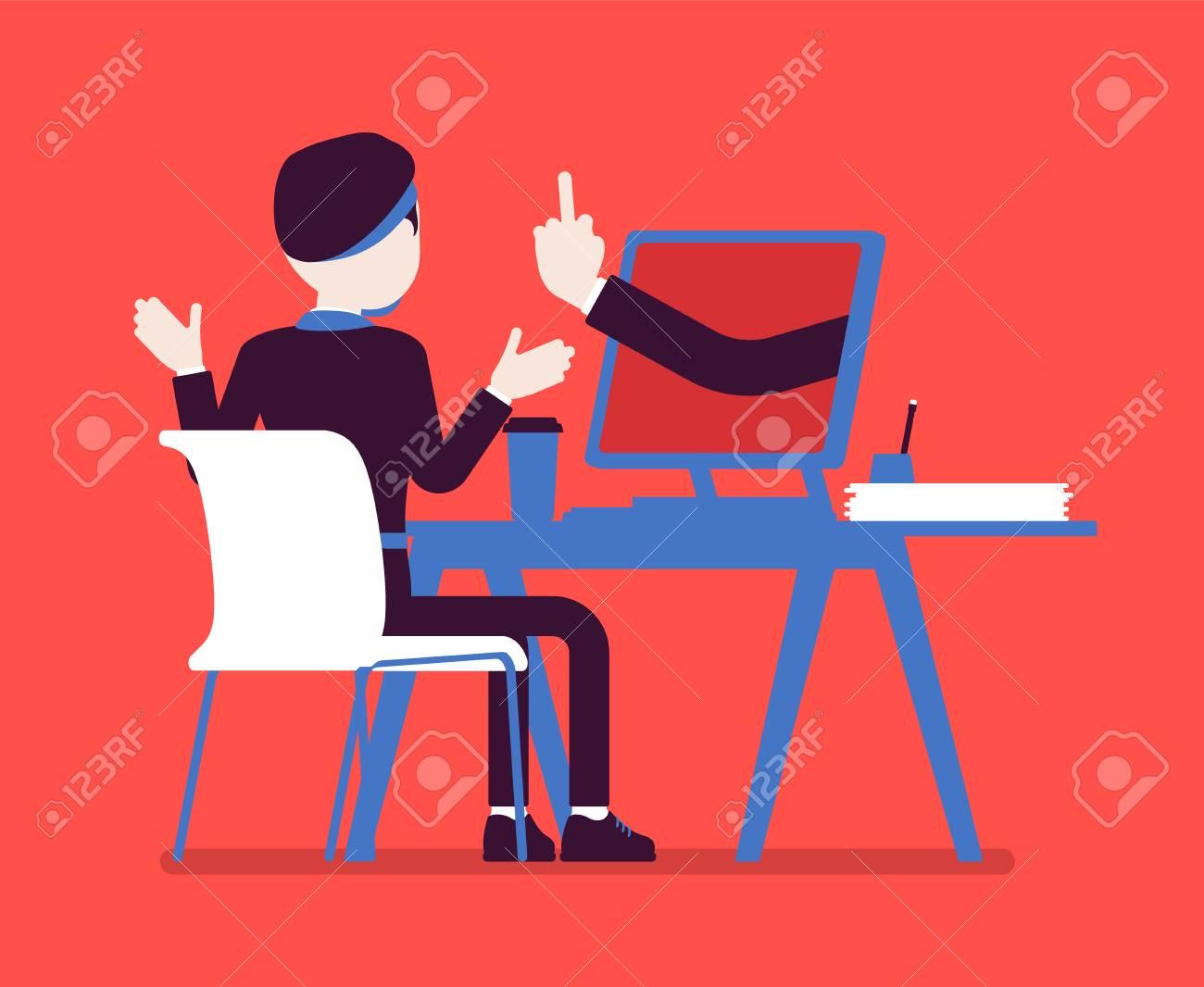 Man getting lost at computer. Discouraged male manager working to achieve nothing, negative gesture from monitor showing the loss of all hope, business result. Vector illustration, faceless character - 122040132