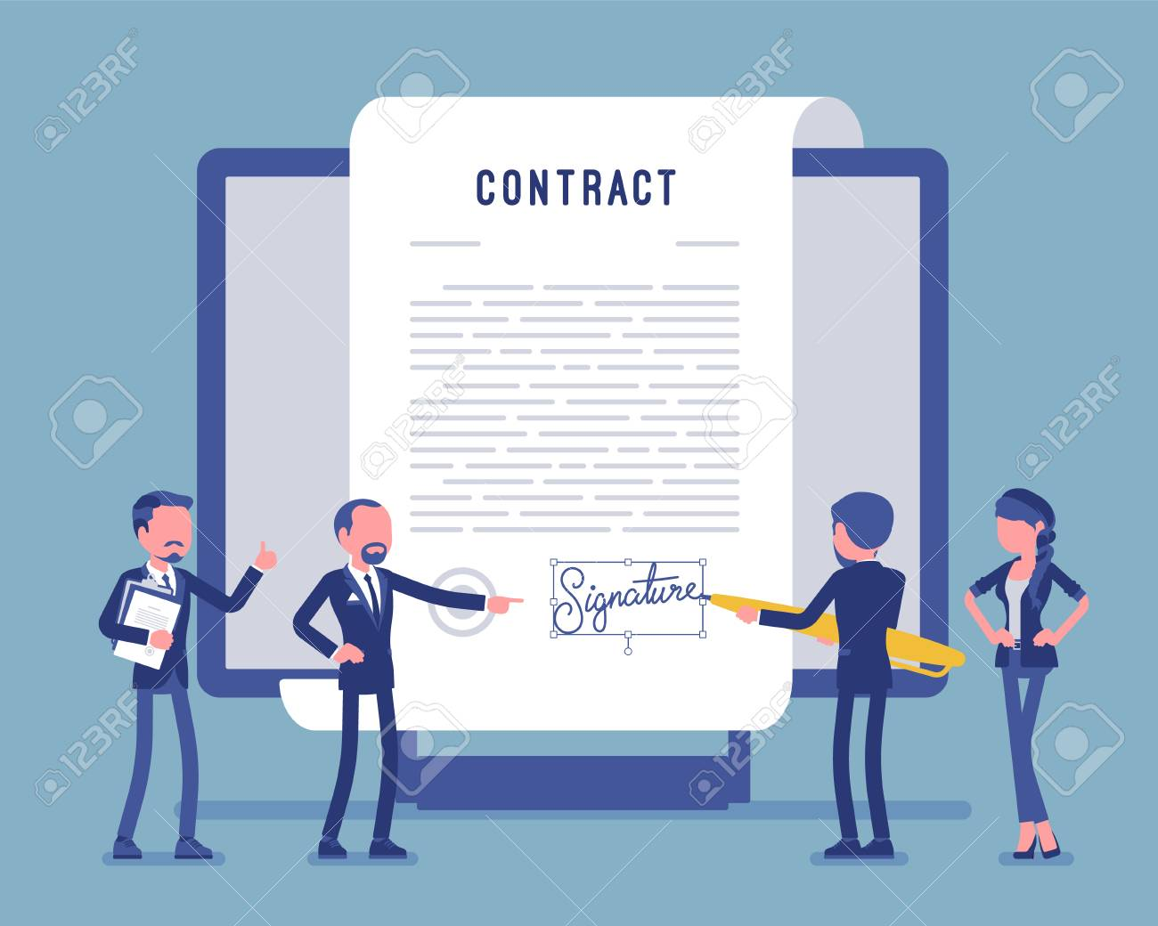 Electronic document signature, contract page on screen. Business people sign official paper, formal agreement, businessman with giant pen putting name. Vector illustration, faceless characters - 122503995