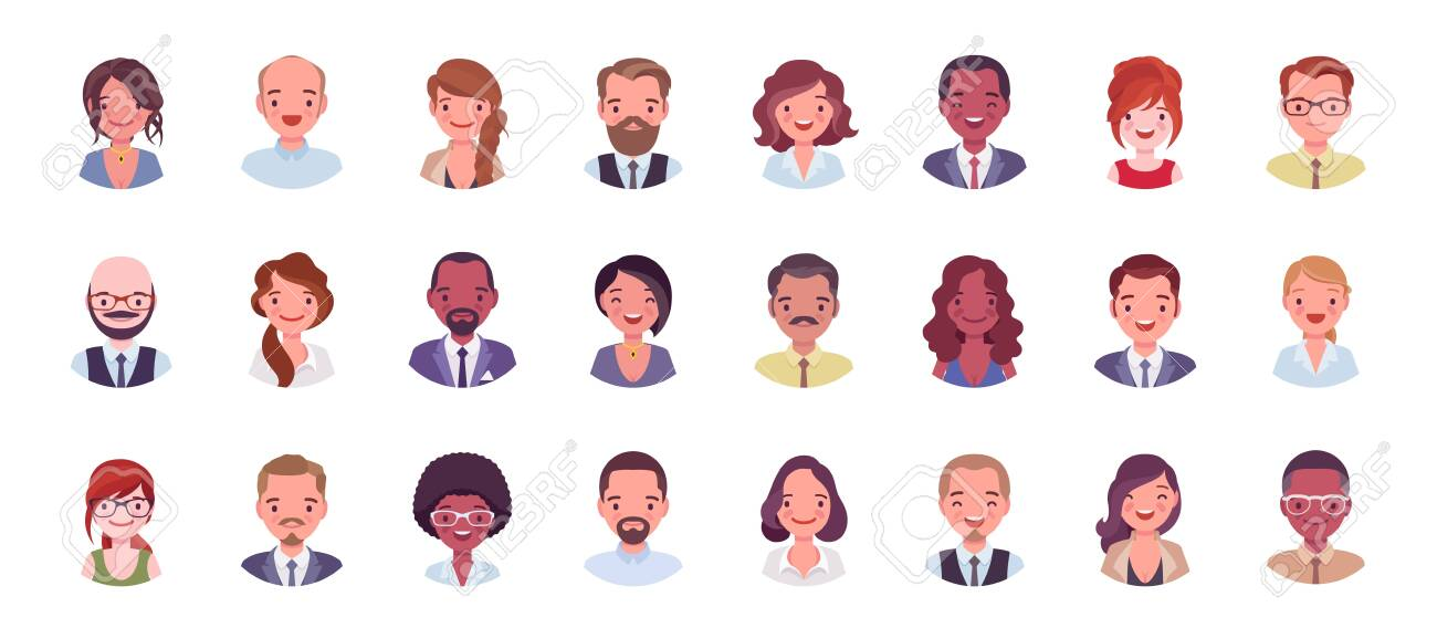 Business people avatar big bundle set. Businessmen and businesswomen face icons, character pic to represent online user in social net. Vector flat style cartoon illustration isolated, white background - 132327481