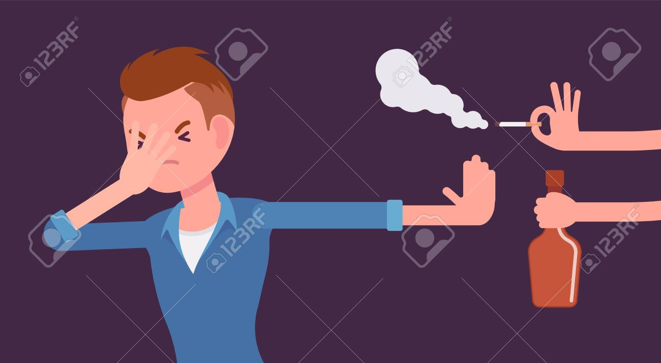 Bad habits refusal, boy against use of alcohol and smoking. Guy breaking or kicking, trying to get rid of drink and tobacco temptation, habit-control strategy. Vector flat style cartoon illustration - 137954837