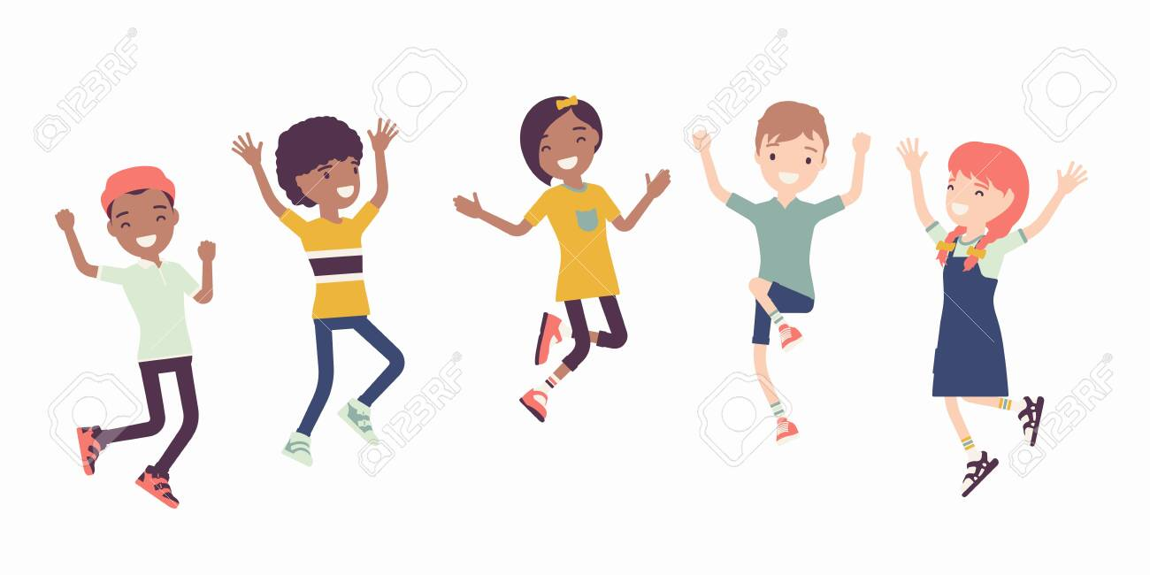 Happy joyful children jumping with joy. Cute kids having fun, diverse group of school friends enjoy free time together, entertainment or holiday activity. Vector flat style cartoon illustration - 141090061