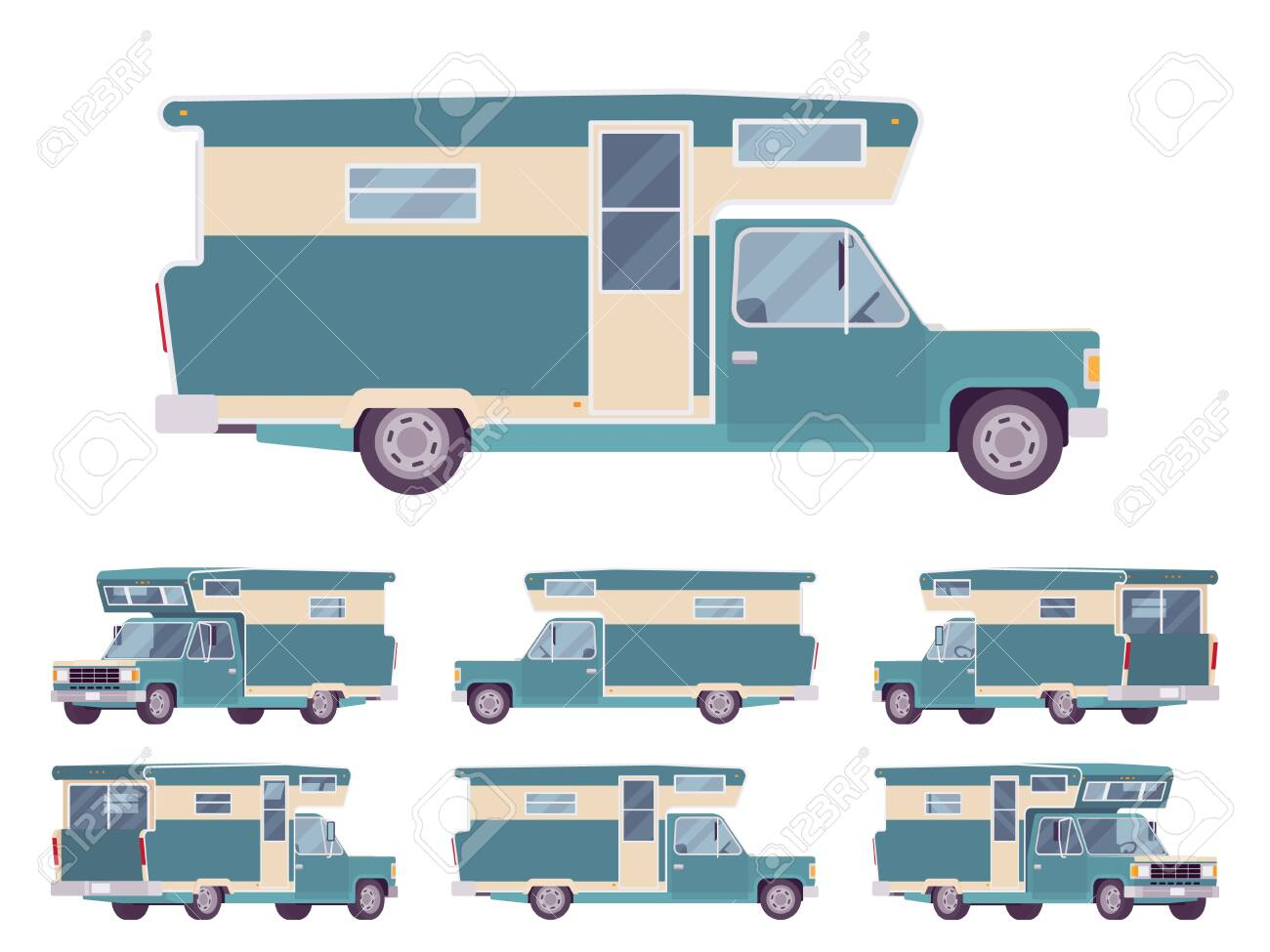 RV camper turquoise van car, recreational vehicle. Motorhome trailer, living accommodations, holiday journey caravan, convenient home on wheels. Vector flat style cartoon illustration, different views - 154559972