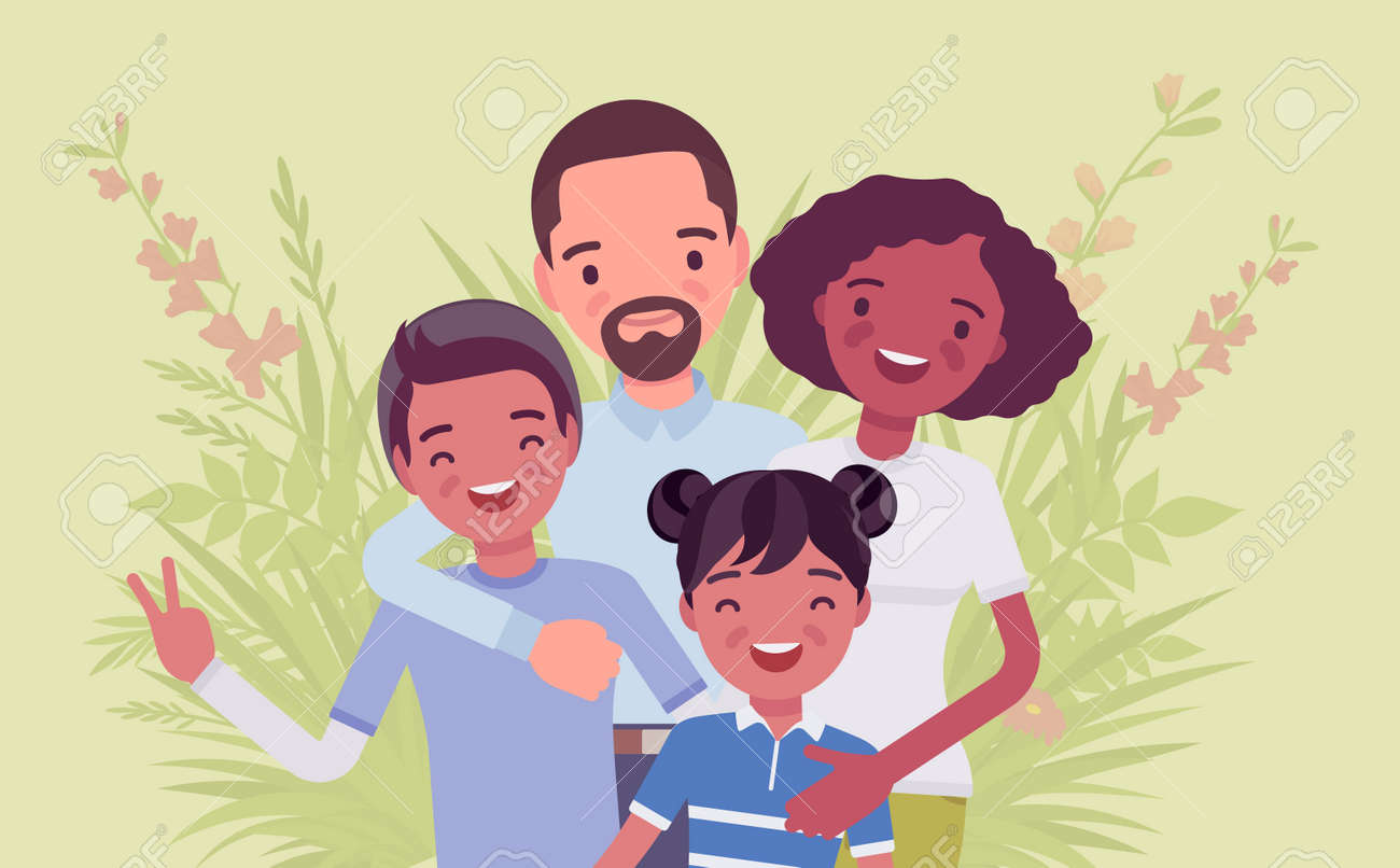 Multicultural happy family, parents and kids of different race, culture. Father, mother, son, daughter portrait, four members posing together, smiling in love. Vector flat style cartoon illustration - 157350862