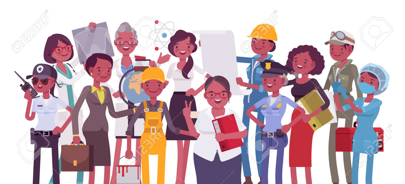 Black female professional workers of different occupations and jobs. Group of people in management, office, banking, medicine, science career. Vector flat style cartoon illustration, white background - 164564821