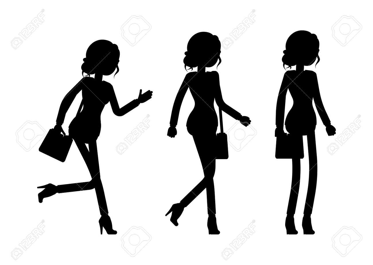 Businesswoman silhouette, office worker standing, walking, going - 168605157