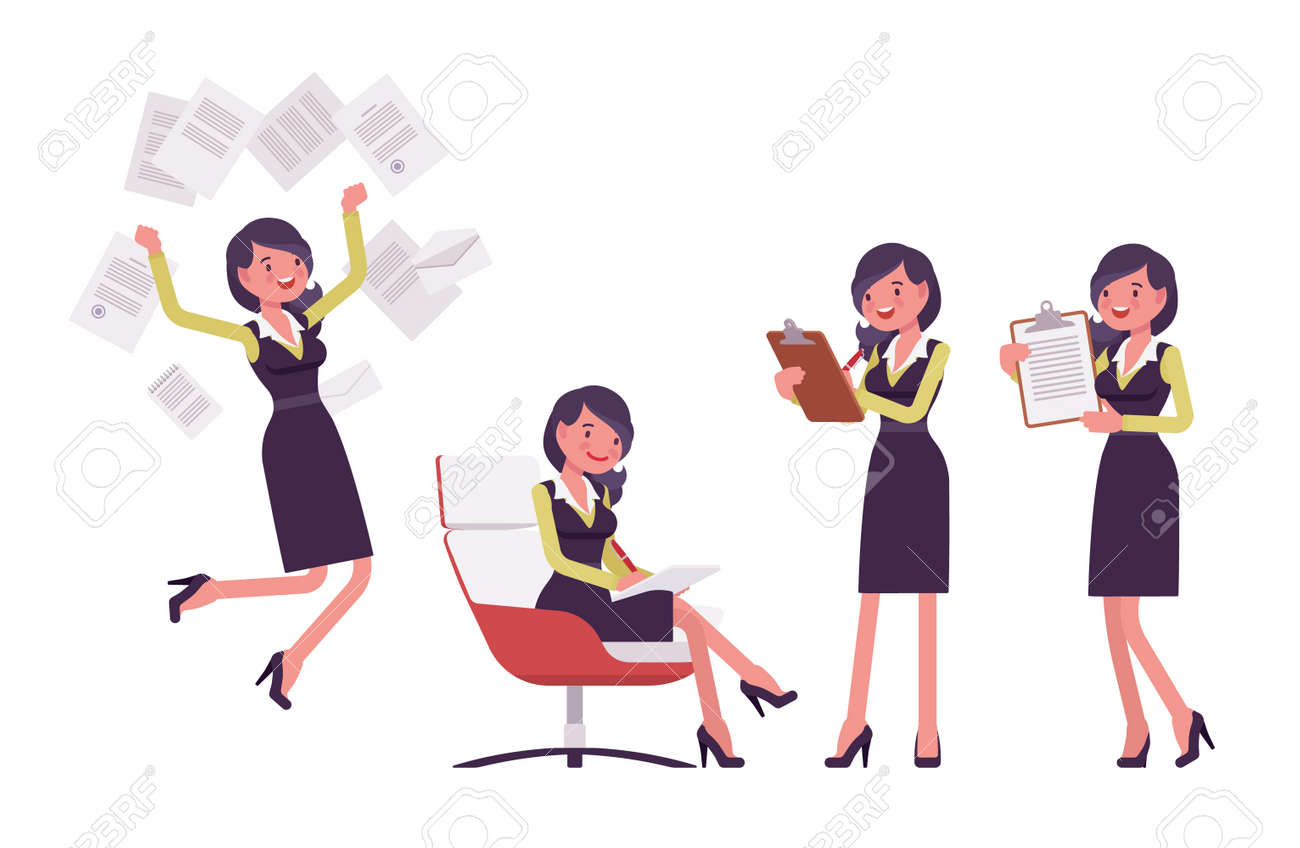 Attractive businesswoman, woman in secretary pencil office dress with paper - 168944597