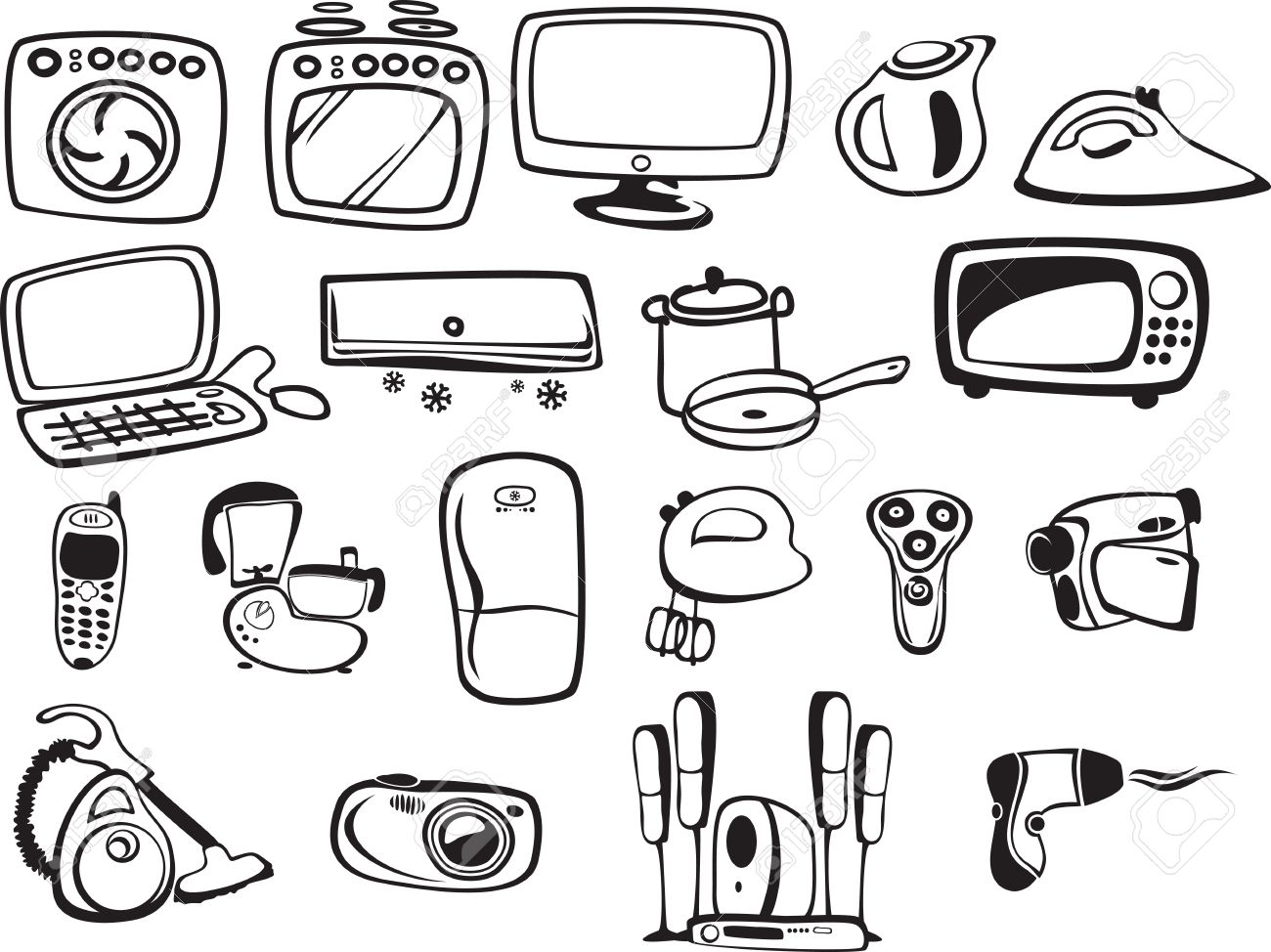 Symbols Of Household Appliances And Electronics Royalty Free ...