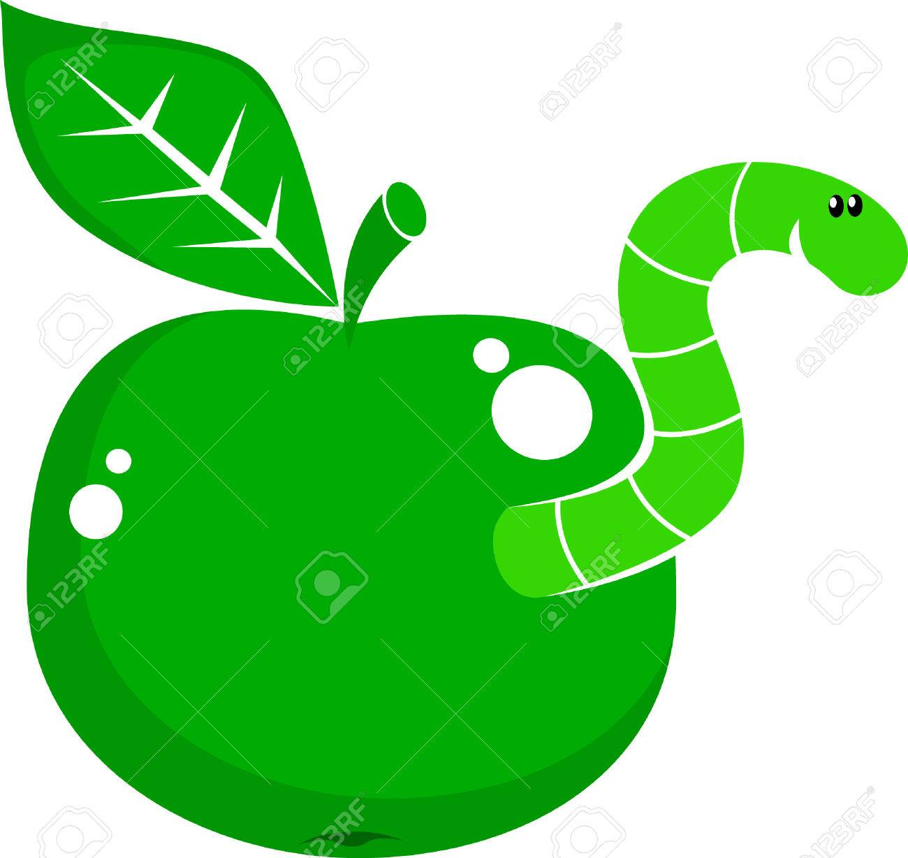symbol apple with worm Stock Vector - 4666014
