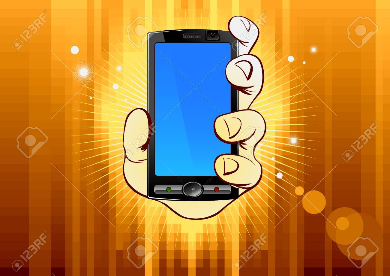 mobile phone in hand on gold background Stock Vector - 4884130