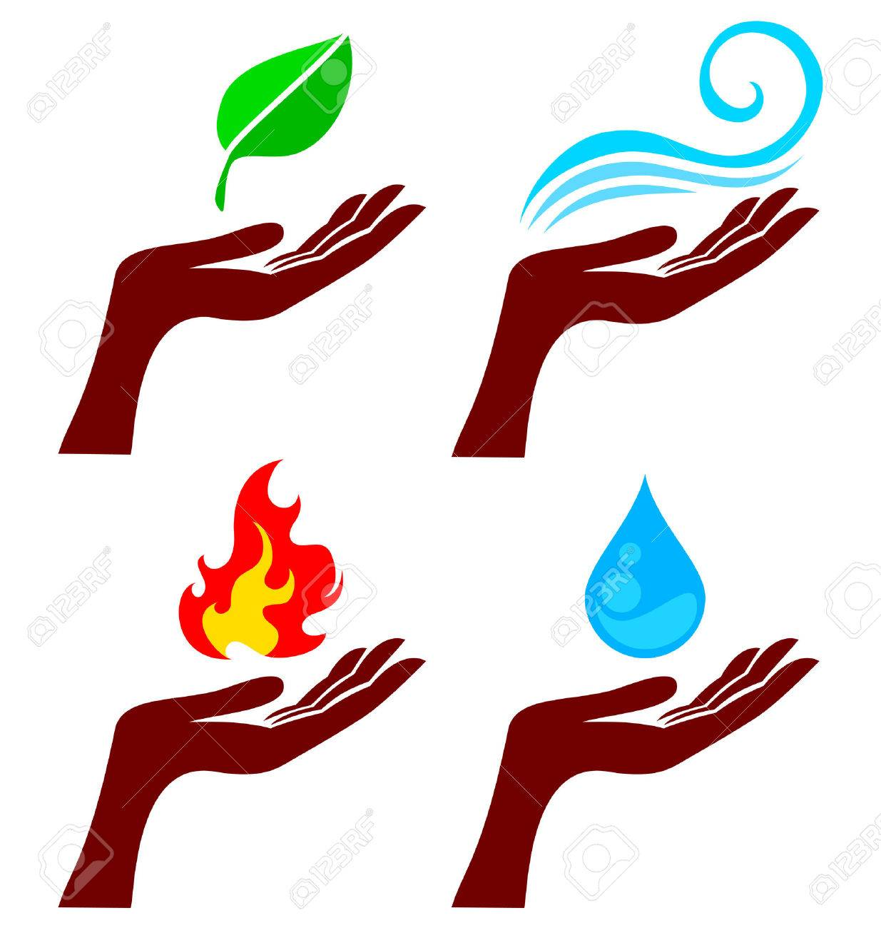 Hand with four nature element: tree leaf, fire, water and wind Stock Vector - 8228111