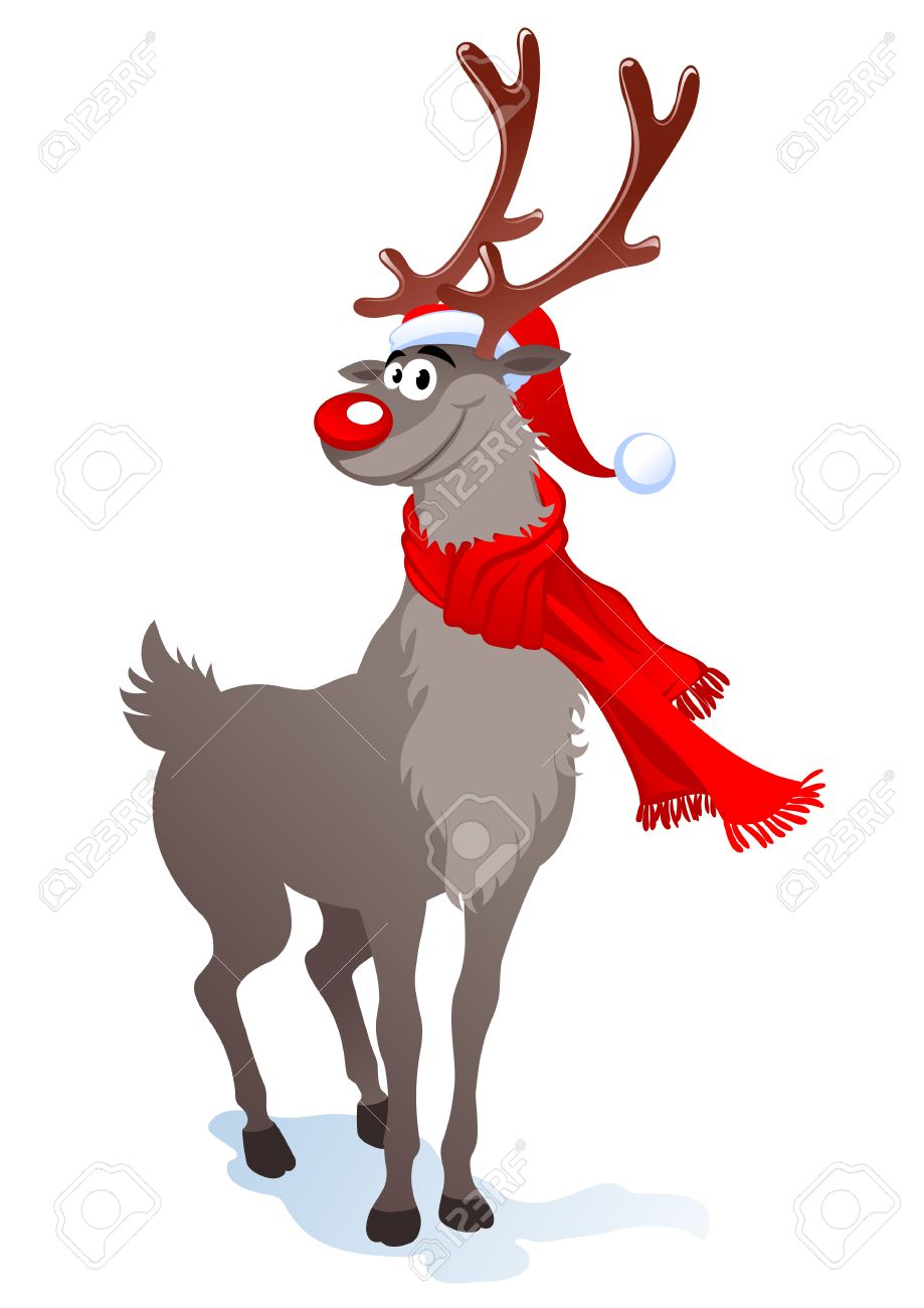 Cartoon smiling reindeer in santa hat.   illustration can be scale to any size. Stock Vector - 8228112