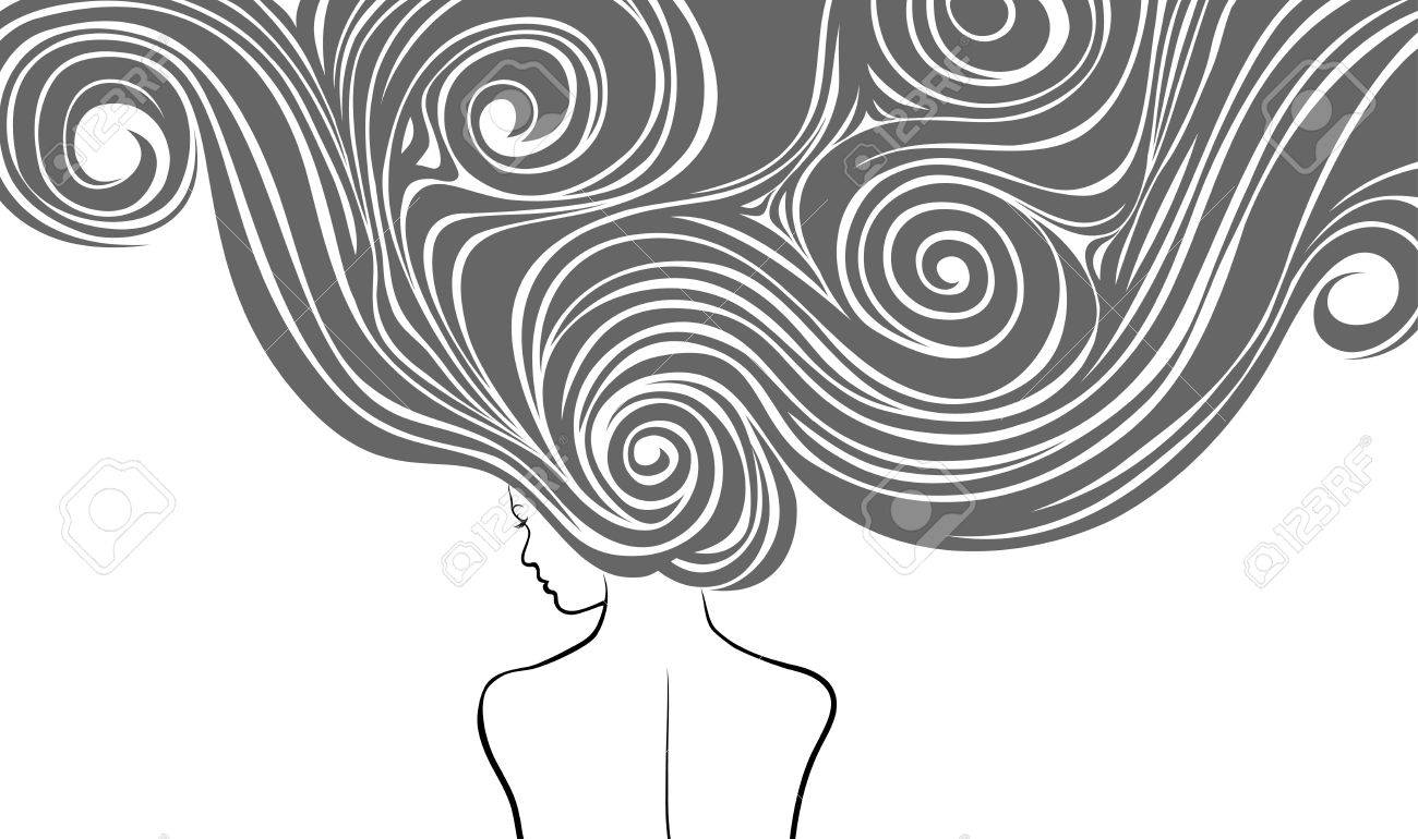 Woman with very long and stilysh hairs Stock Vector - 8476660