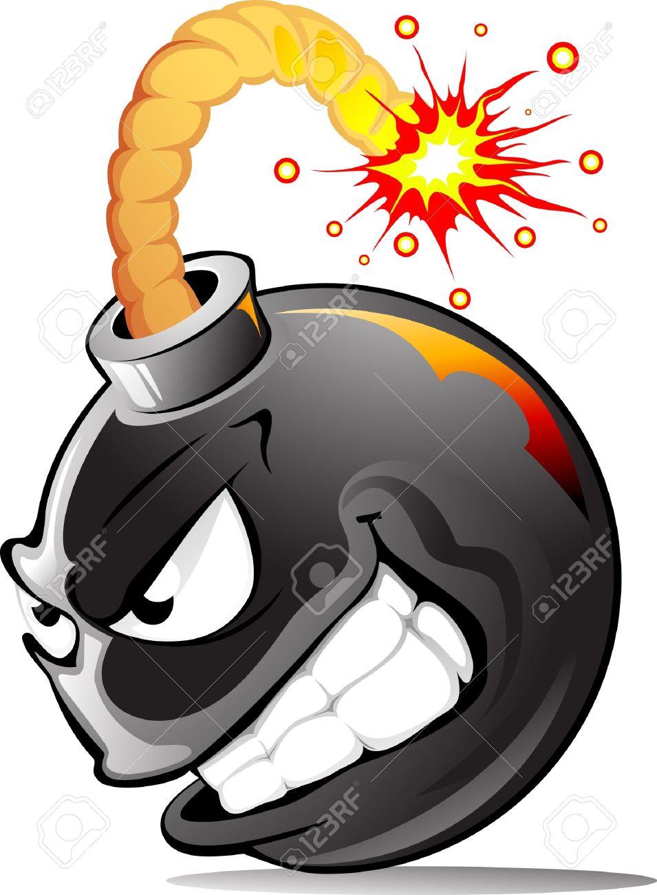 Very evil cartoon bomb ready to explode! - 9363941