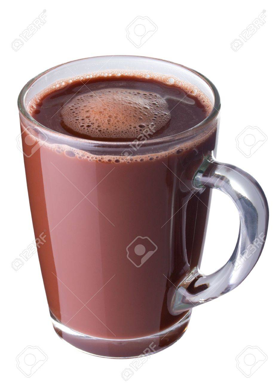 Hot chocolate in a glass cup isolated on white Stock Photo - 10503540