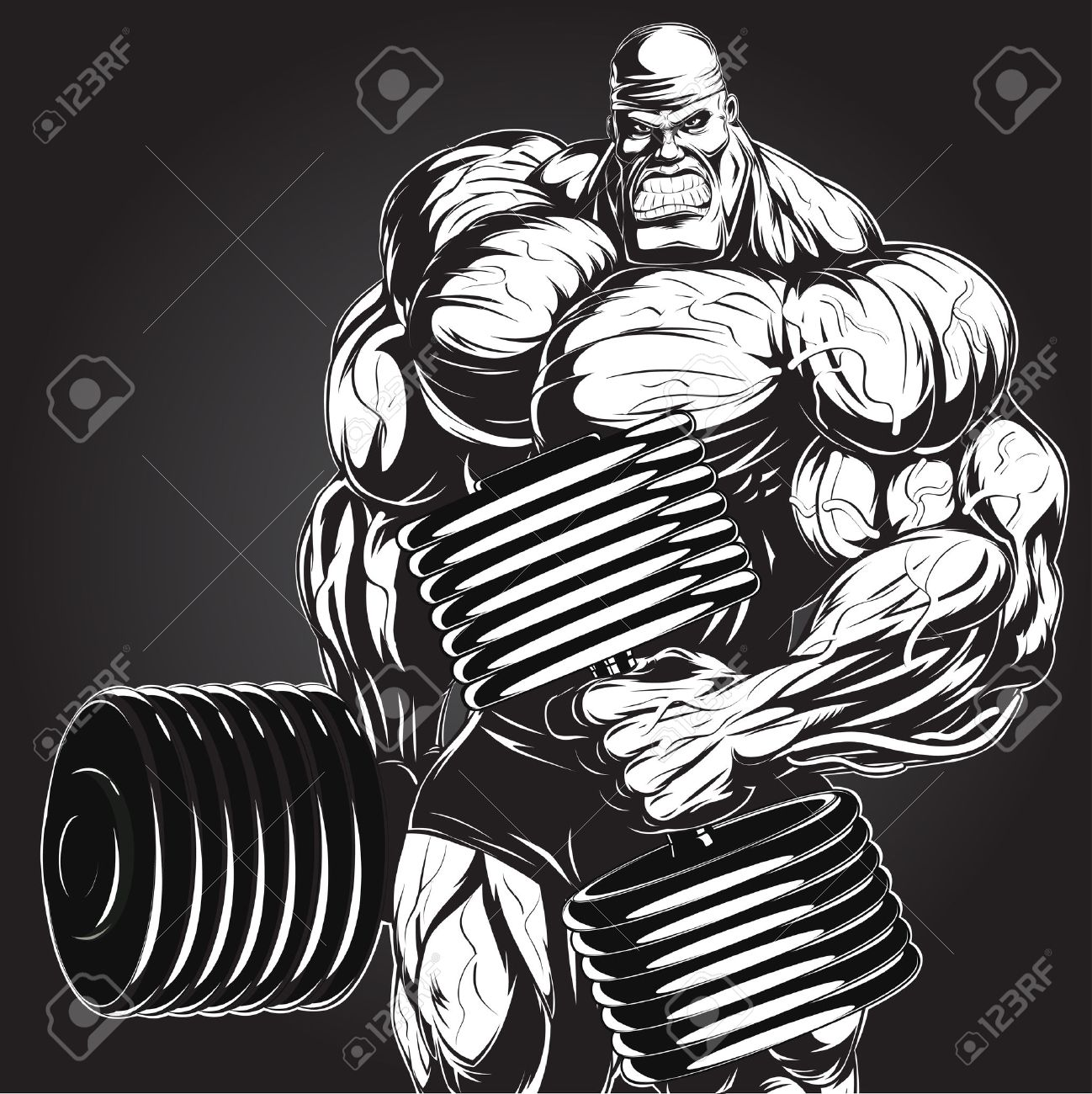 Illustration: a ferocious bodybuilder with dumbbell - 29523420