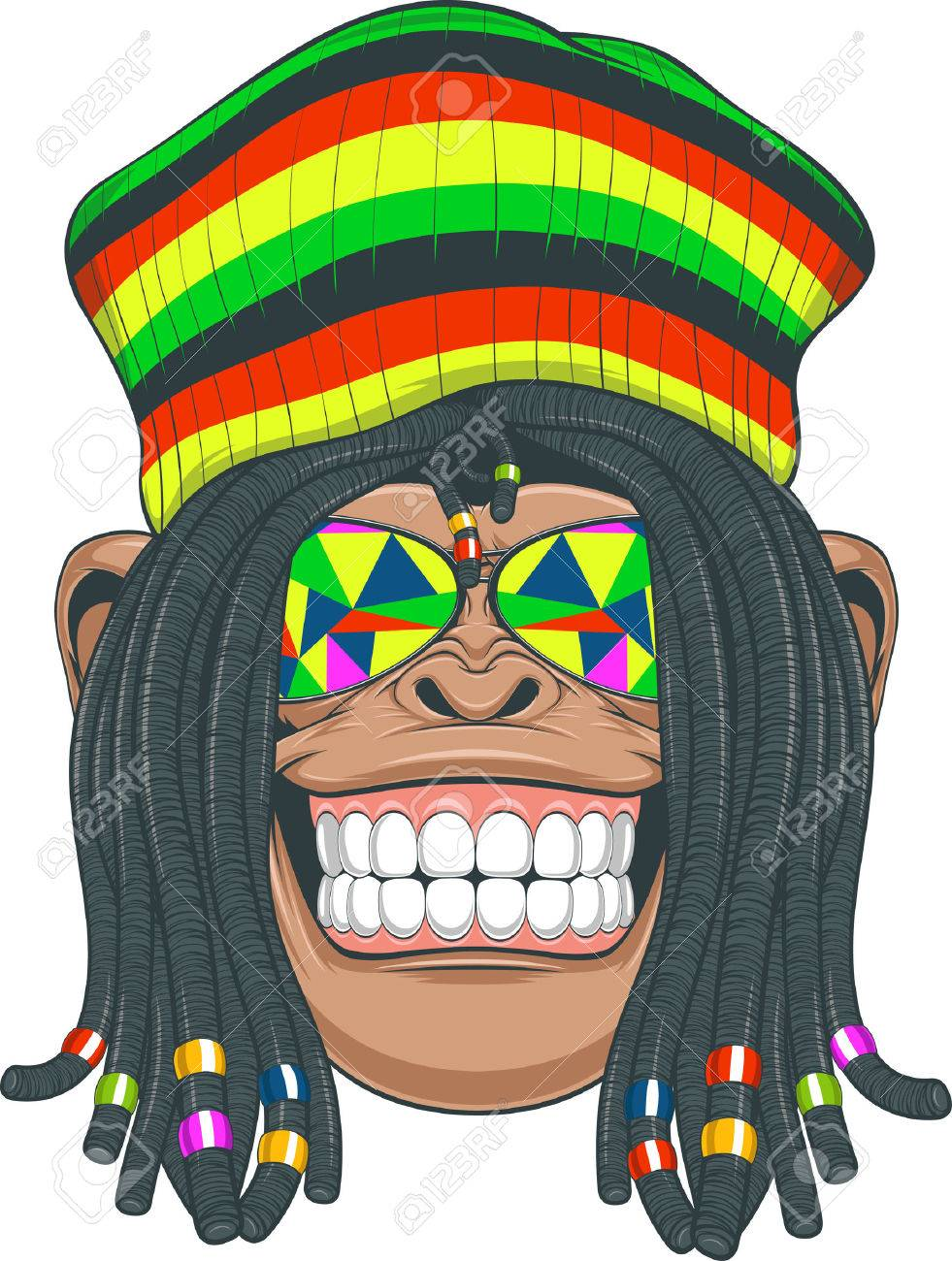 03ecbf41070 Illustration chimpanzee with dreadlocks and cap stock vector jpg 981x1300  Cartoon characters with dreads and hat