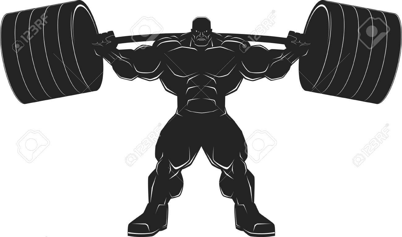 bodybuilder with a barbell illustration vektor silhouette royalty
