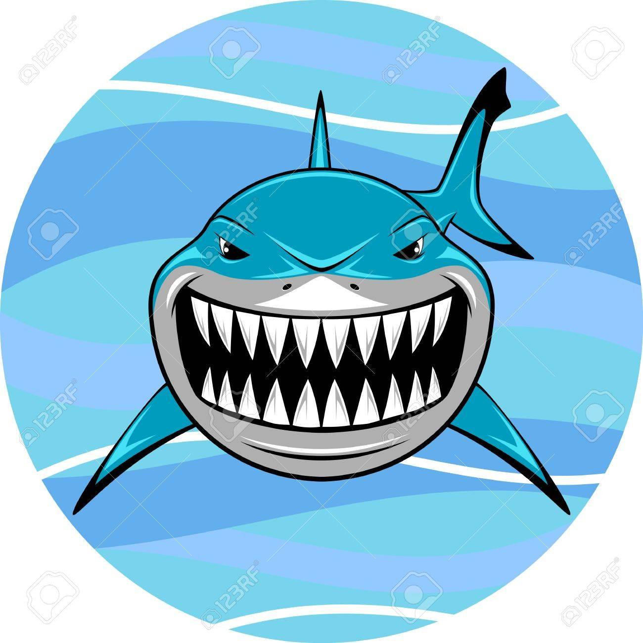 Vector illustration, toothy white shark - 32569197