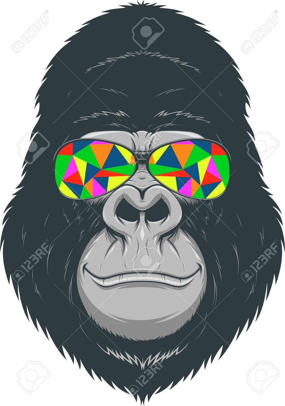 diseño de calidad 5082e 7e653 Ilustración, gorila divertido con vidrios de color