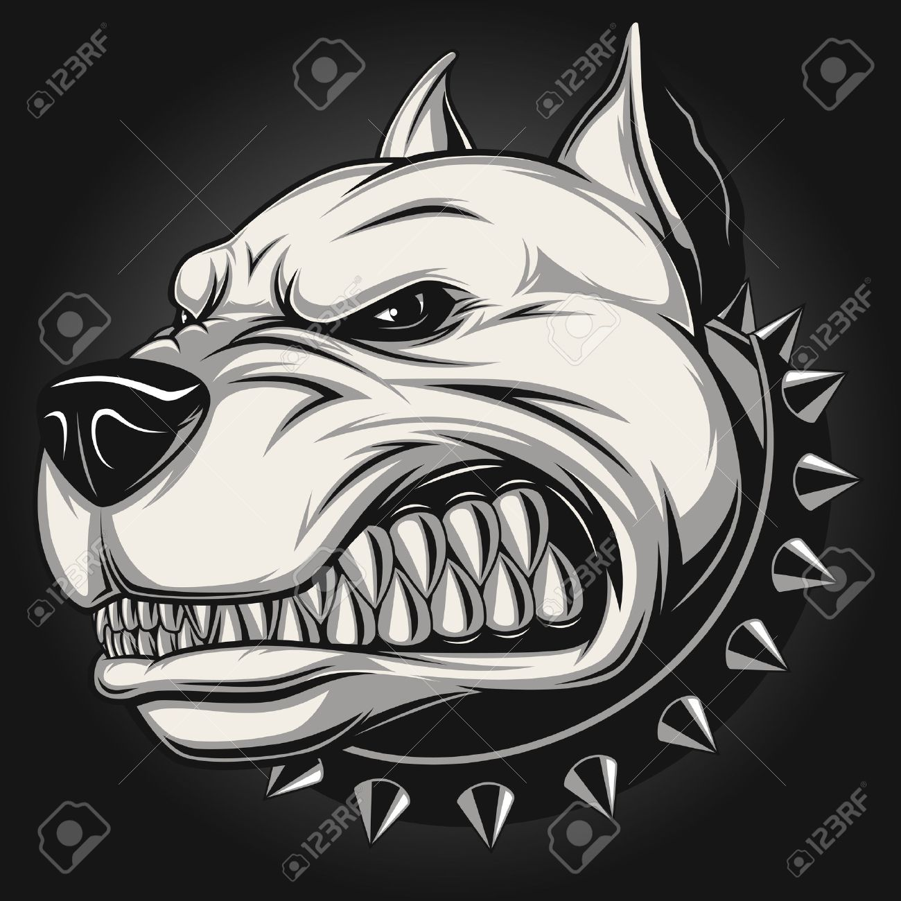 Vector Illustration Angry Pitbull Mascot Head On A White Background