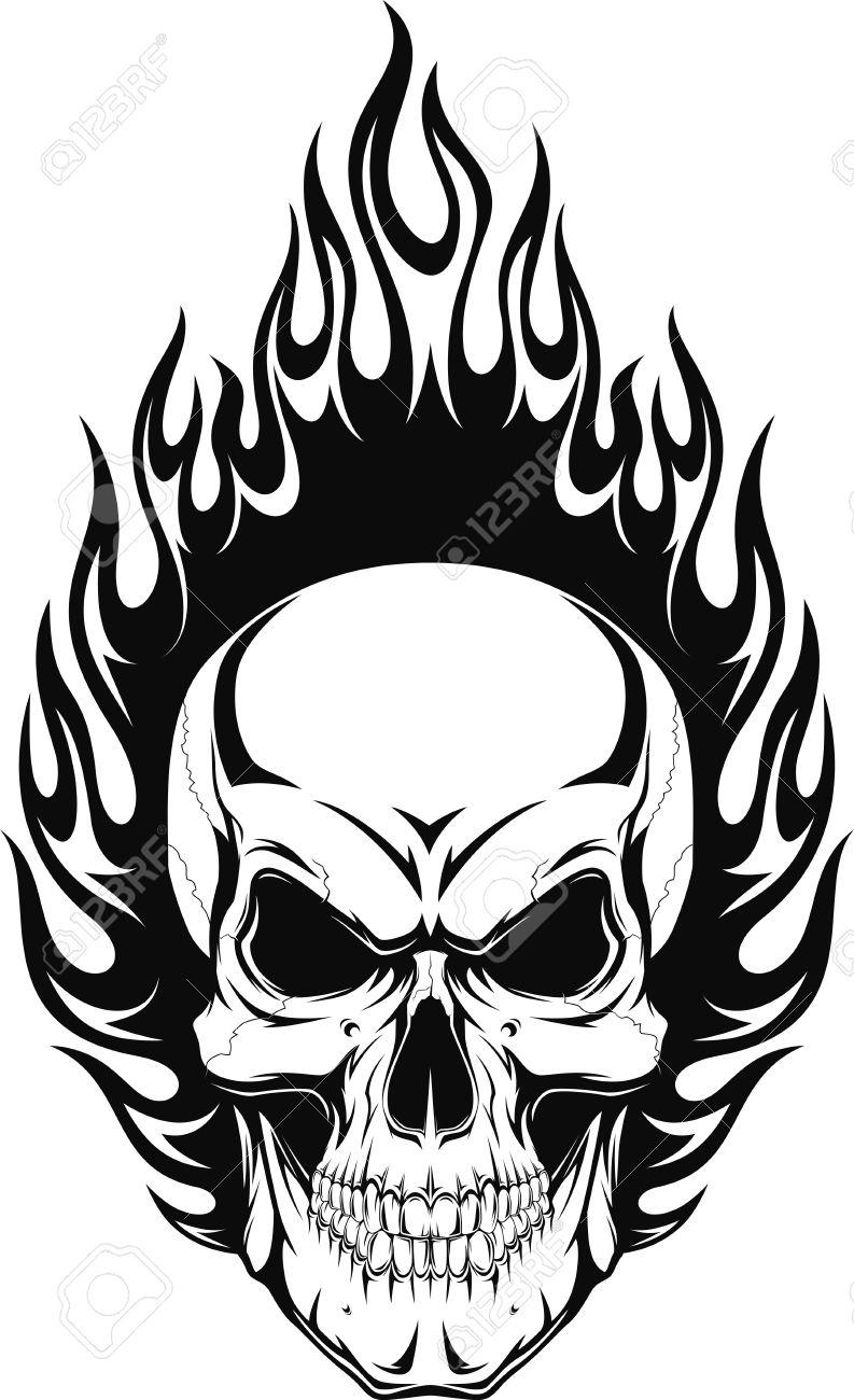 tatouage tete de mort vector illustration dun crne humain avec des flammes illustration