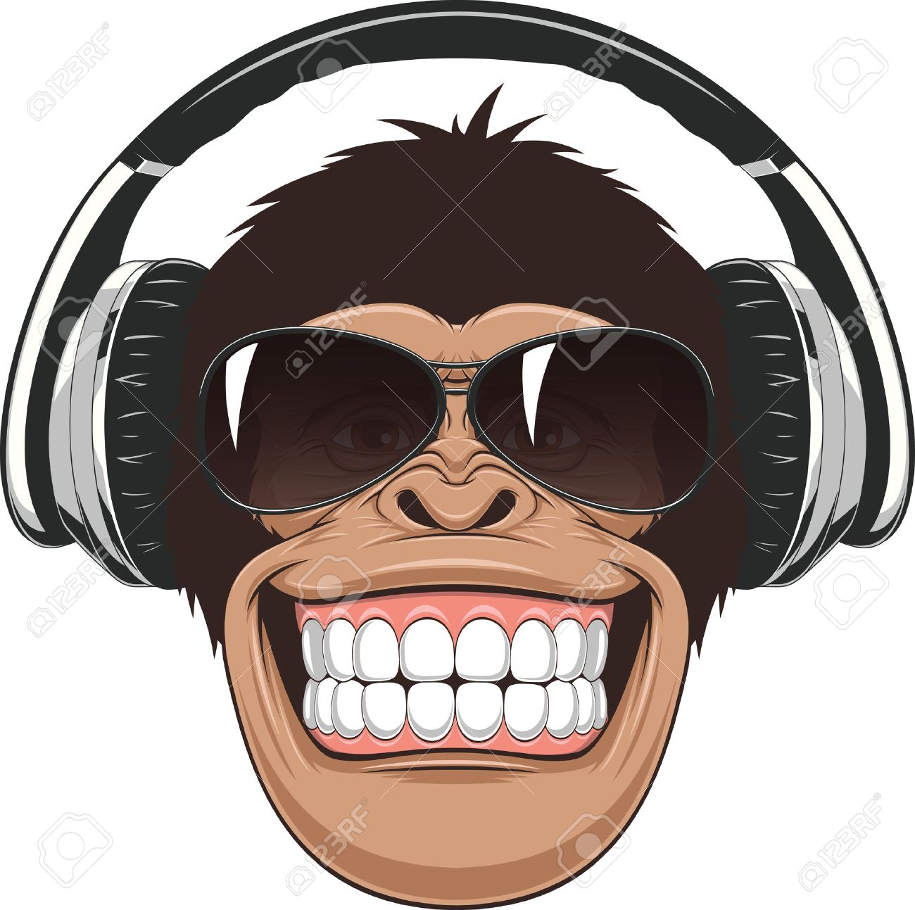 Vectorial illustration,funny chimpanzee in colored glasses and headphones - 42526185