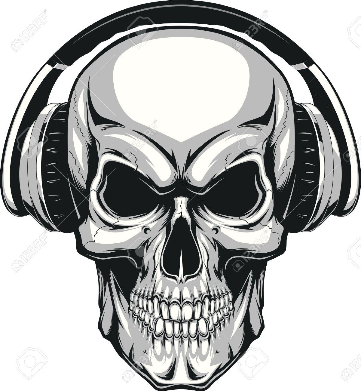 tete de mort vector illustration crne humain couter de la musique sur un casque