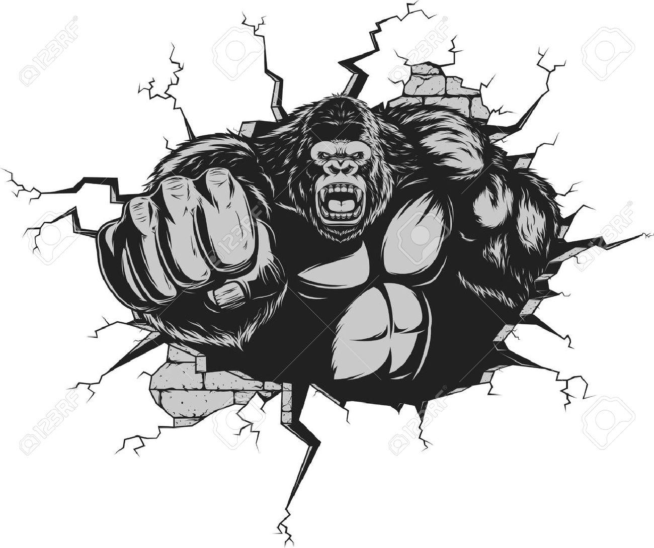 [62] [Bruno] [Andaruca] ÇA FAIT PLAIZ !!! - Page 15 44196630-Vector-illustration-le-gorille-f-roce-a-frapp-le-mur-avec-son-poing-Banque-d%27images