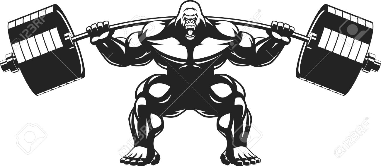 vector illustration of an angry gorilla with a barbell royalty free