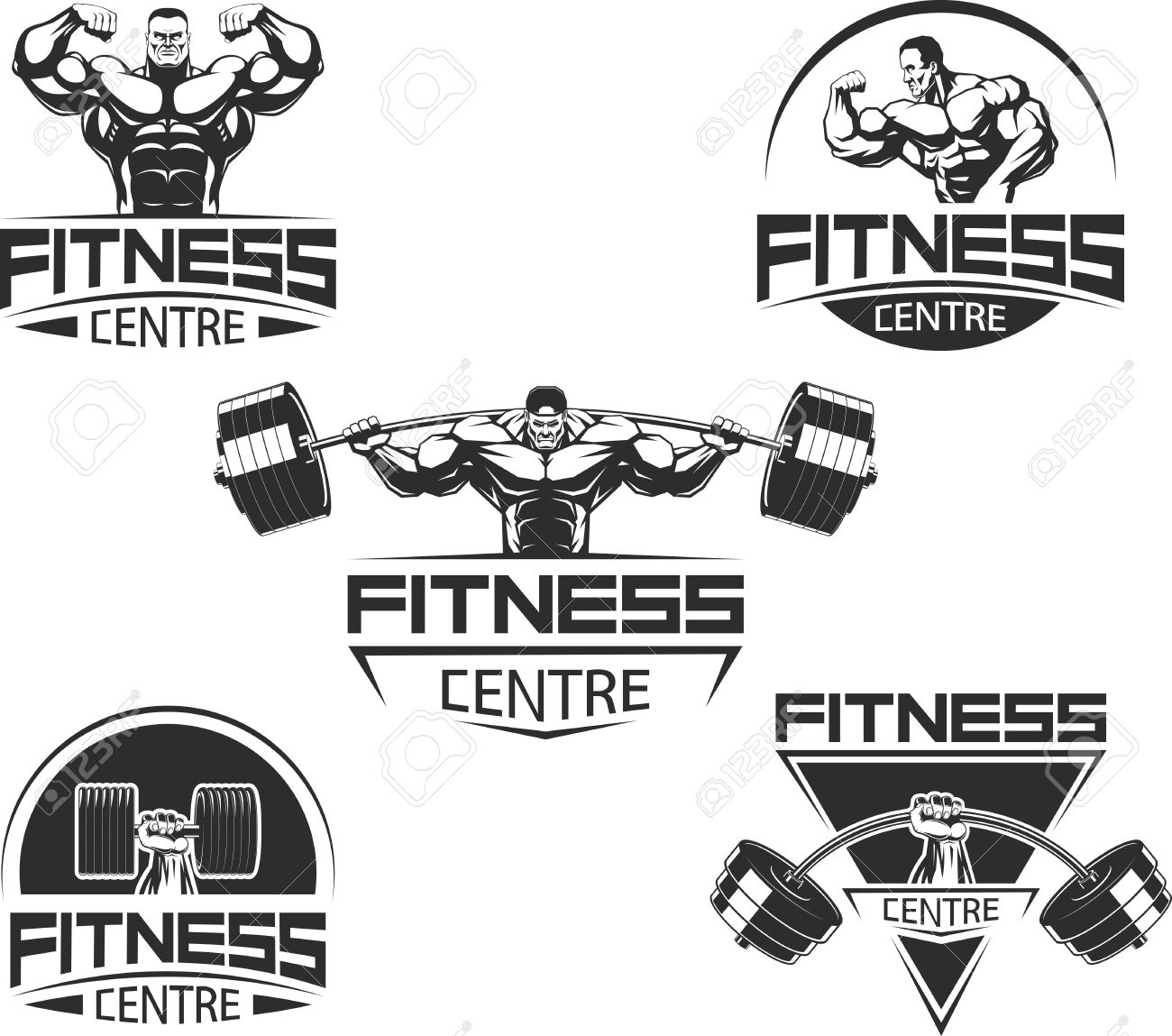 Vector illustration, Icons for bodybuilding and fitness - 51919480
