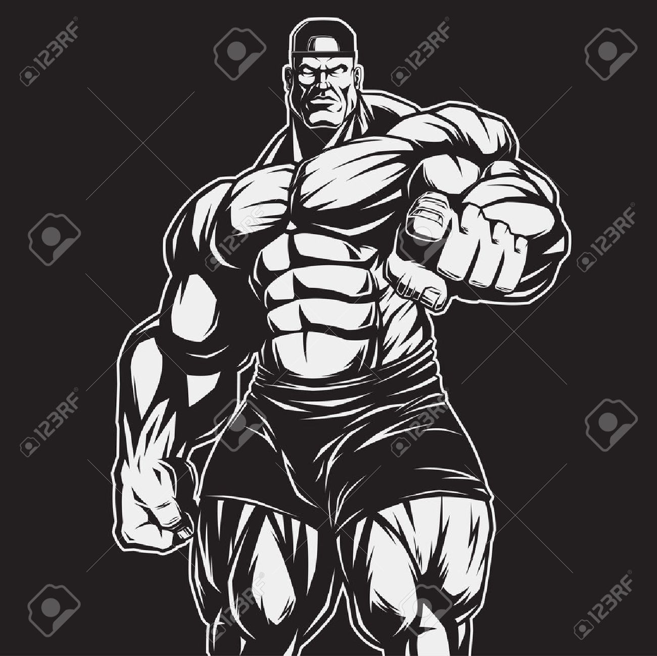 Vector illustration, strict coach bodybuilding and fitness - 52369303
