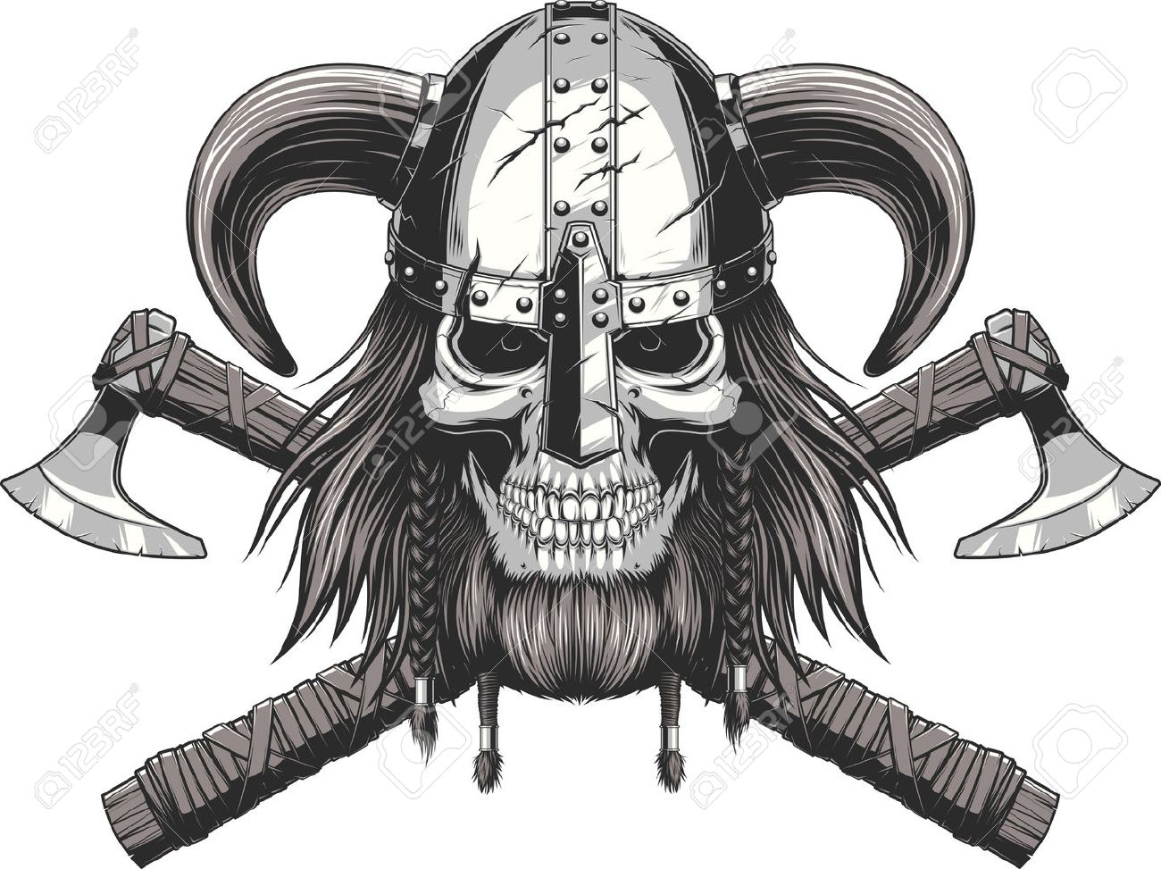 a vector illustration of a skull wearing a viking helmet. royalty