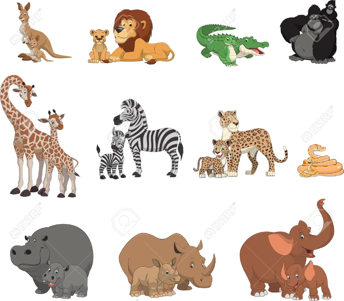 Vector illustration set of funny exotic animals - 55751173