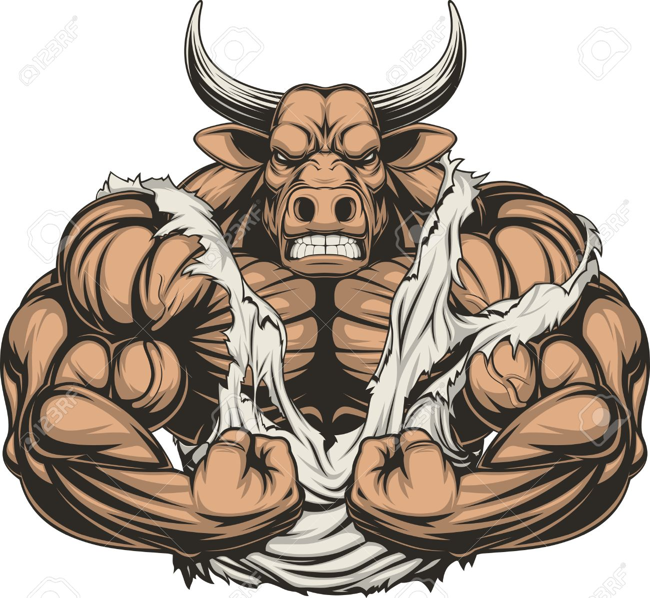 Vector illustration of a strong bull with big biceps - 55751176