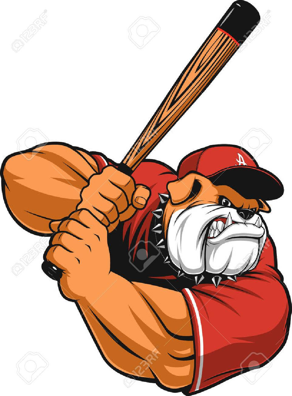 illustration ferocious Bulldog baseball player hits a ball - 56479990