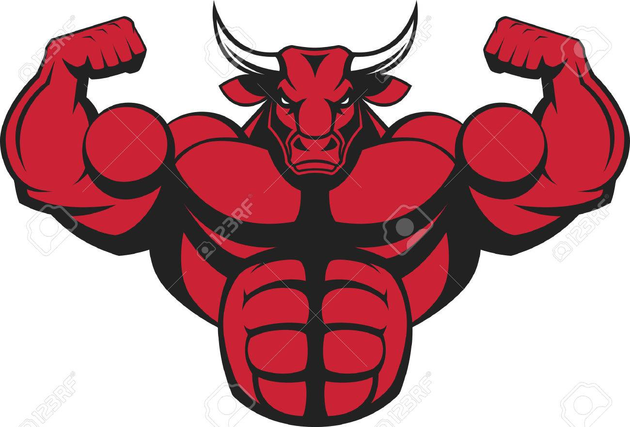 illustration of a strong bull with big biceps. - 56479988