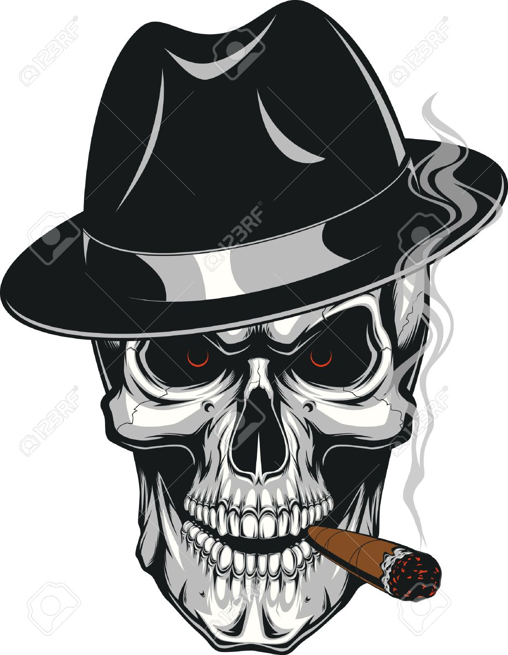 Vector illustration of an evil human skull in hat smoking a cigar on a white background - 59132426