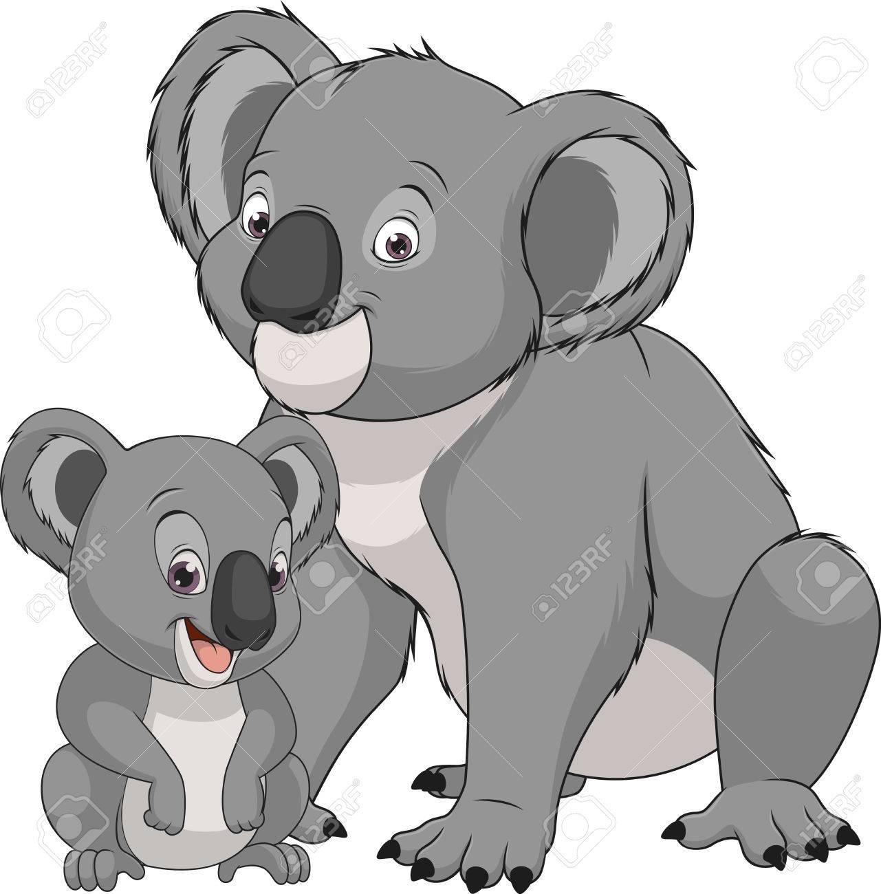 イラスト面白いエキゾチックな動物クマ コアラ家族 ロイヤリティフリー