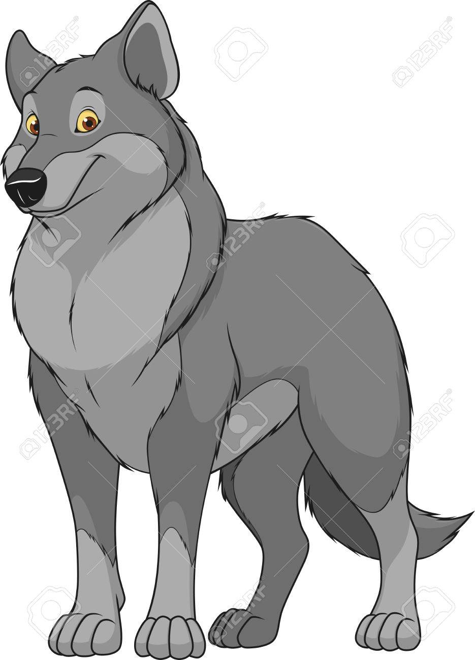 illustration adult funny wolf smiling on a white background - 62771723