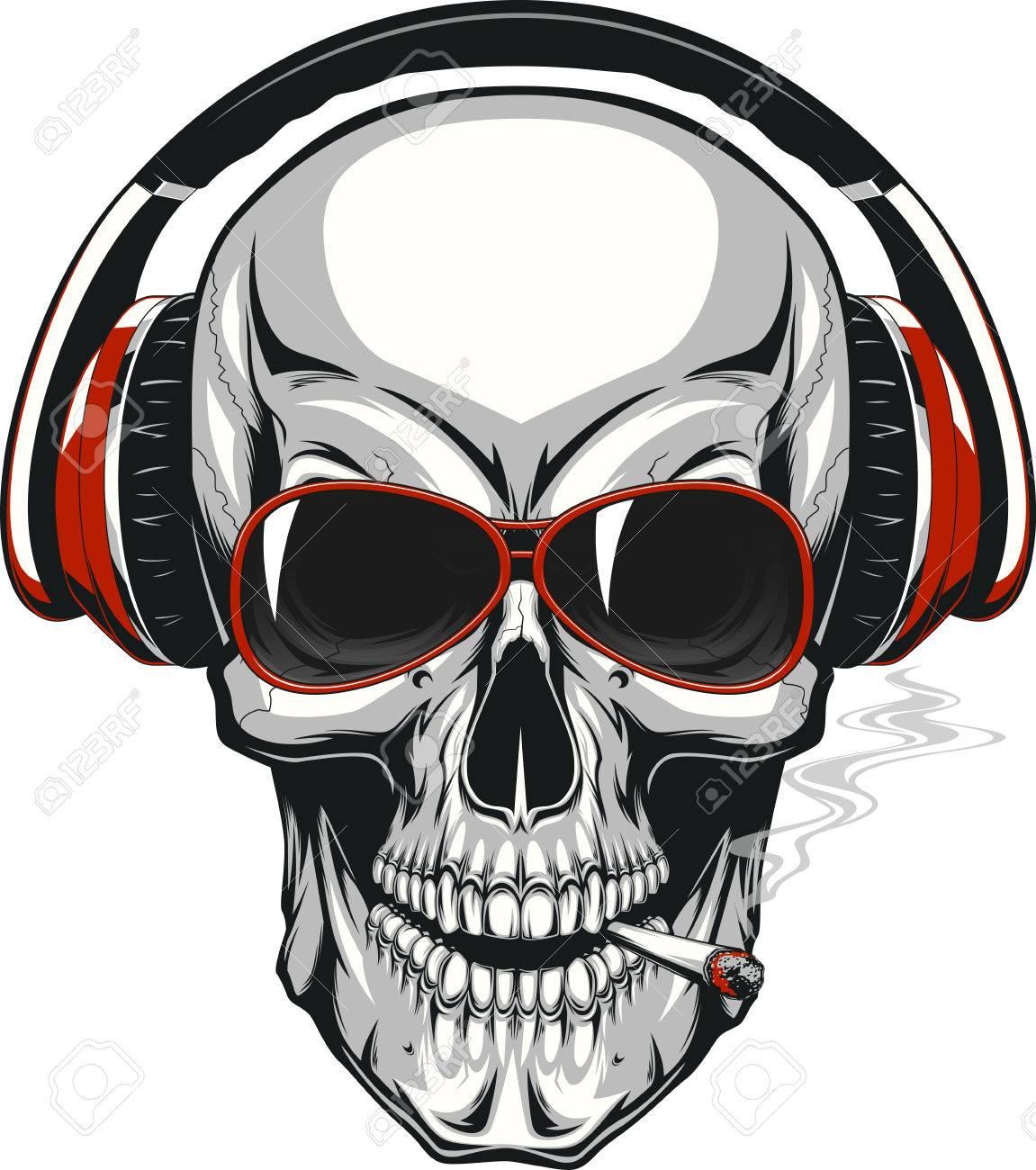 91179e4cdb2 illustration, human skull listening to music on headphones Stock Vector -  65862306