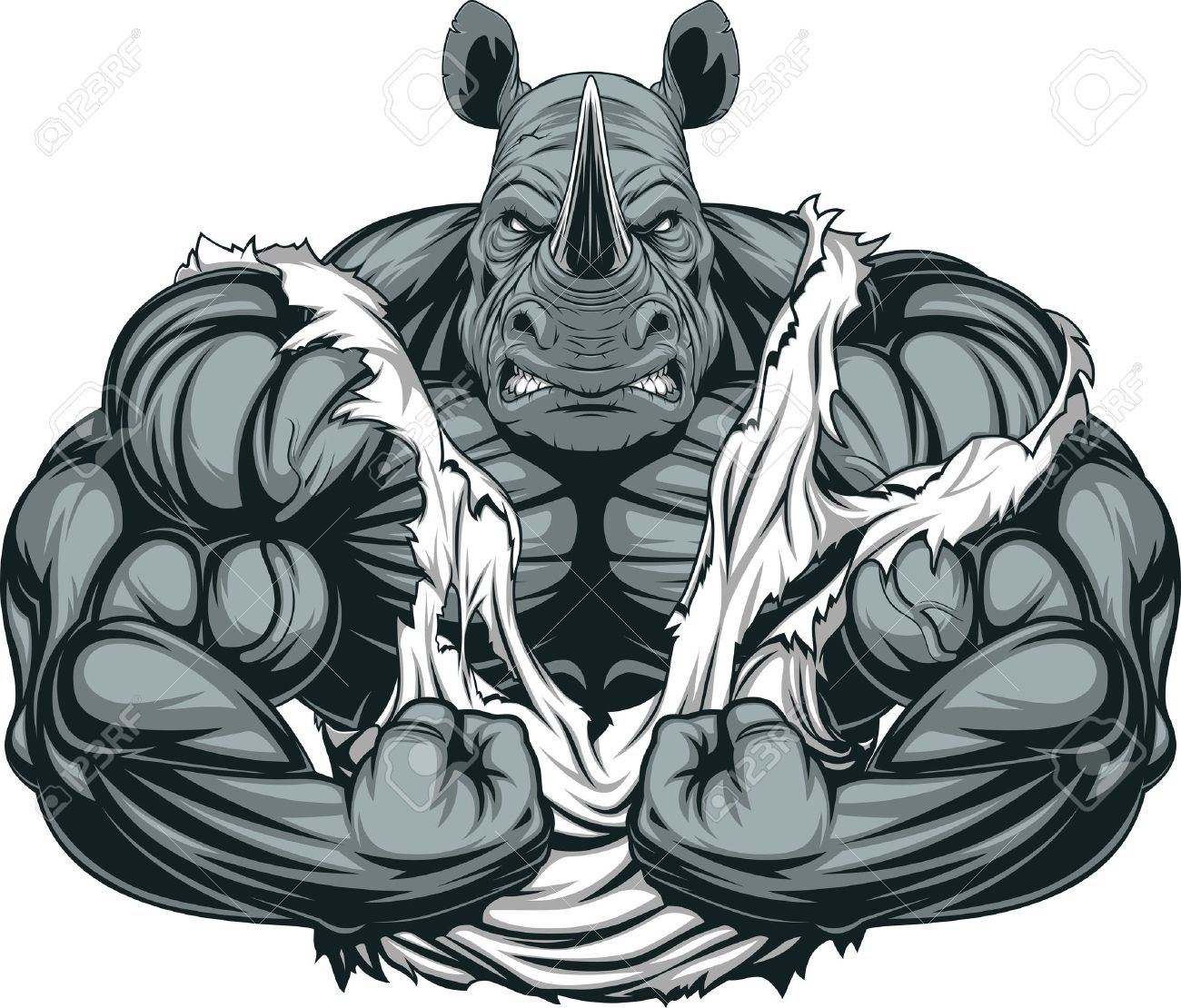 Vector illustration of a strong rhino with big biceps - 66812541