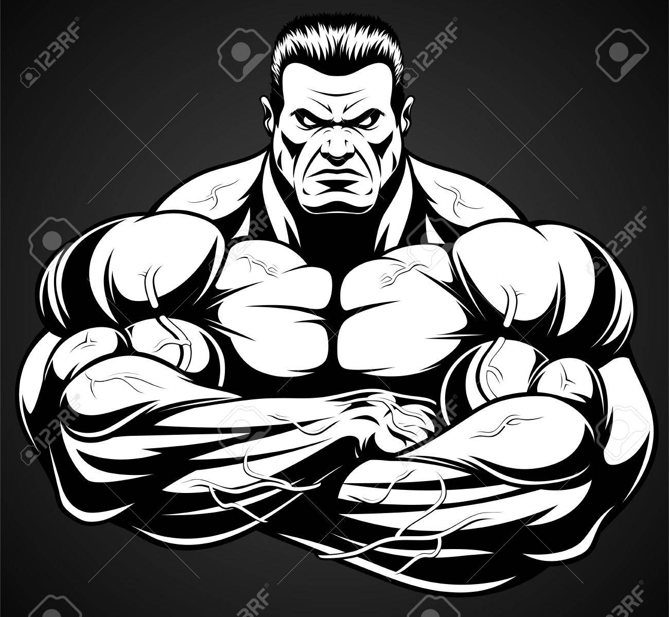 Vector illustration, strict coach bodybuilding and fitness - 68423795