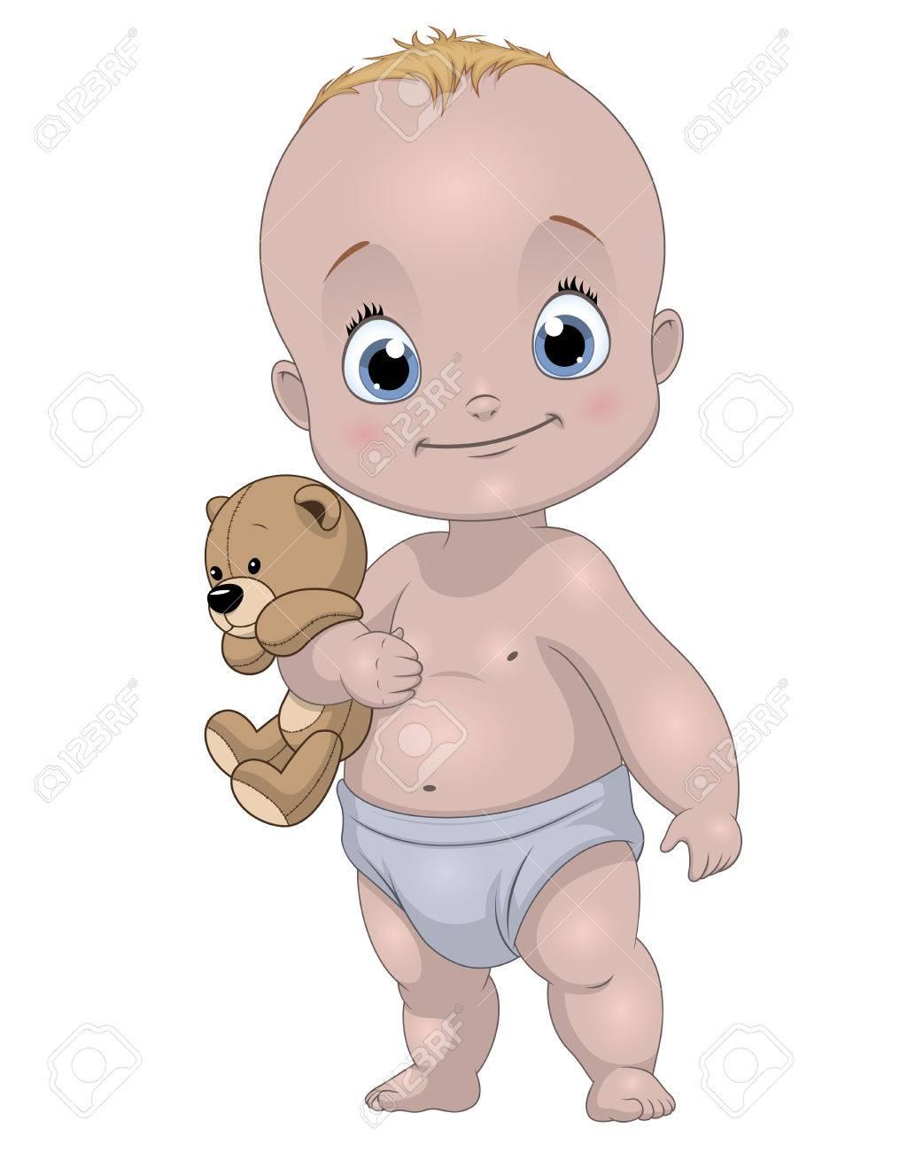 白い背景におもちゃでベクトル イラスト面白い赤ちゃんのイラスト素材 ベクタ Image