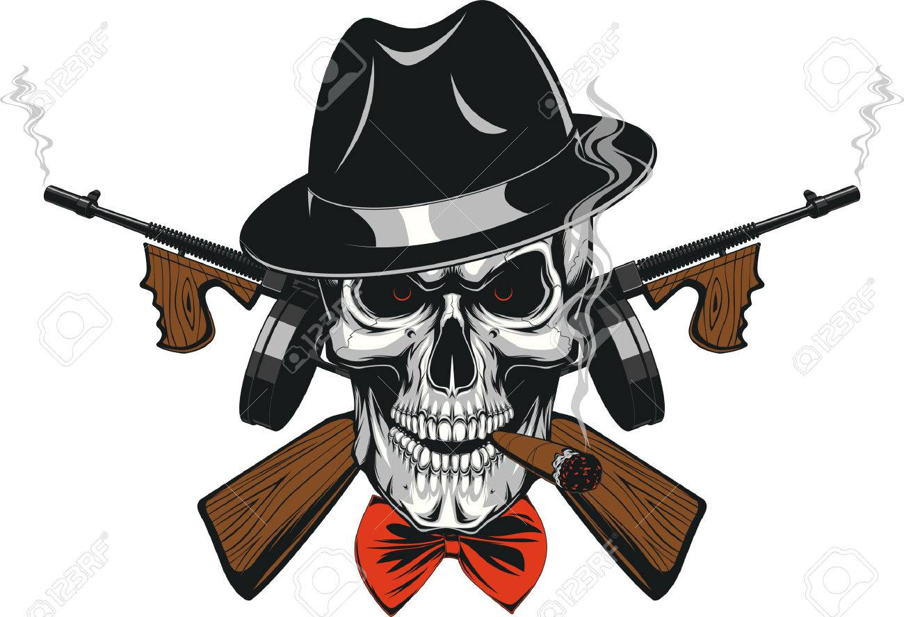 6a53e5126c1f2 Vector - Vector illustration of a skull of a gangster in a hat smoking a  cigar