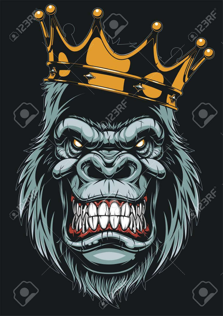 Vector illustration, ferocious gorilla head on with crown, on white background - 81309274