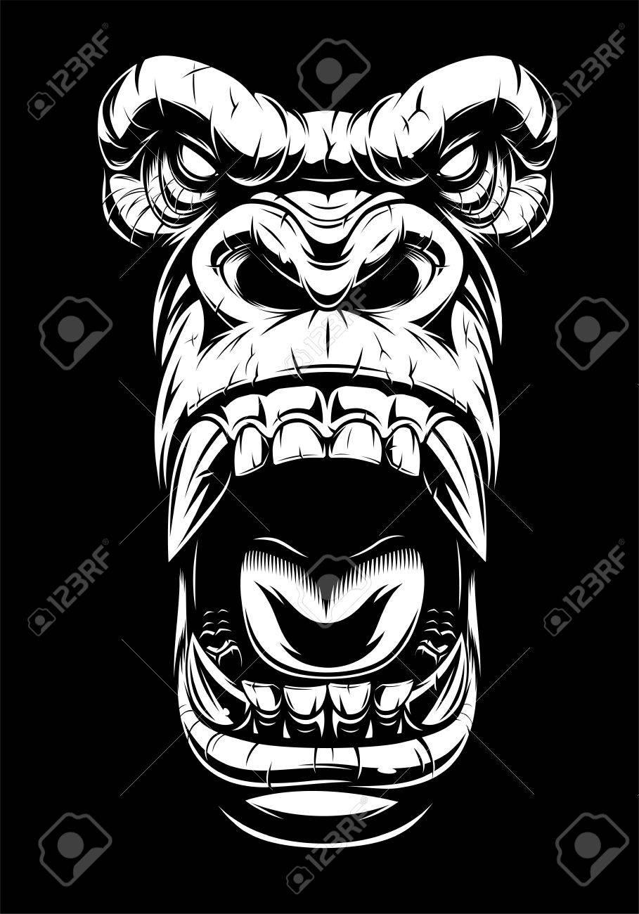 Vector illustration, ferocious gorilla head, on black background, stencil - 81848228